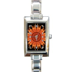 Flaming Sun Rectangular Italian Charm Watch by Zandiepants