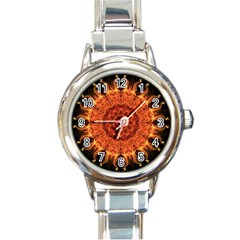 Flaming Sun Round Italian Charm Watch by Zandiepants