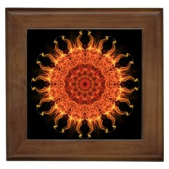Flaming Sun Framed Ceramic Tile by Zandiepants