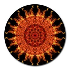 Flaming Sun 8  Mouse Pad (round) by Zandiepants