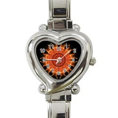 Flaming Sun Heart Italian Charm Watch  by Zandiepants