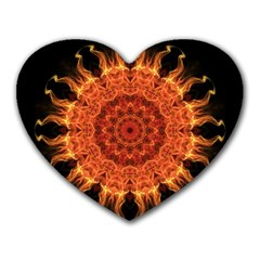 Flaming Sun Mouse Pad (heart) by Zandiepants