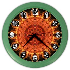 Flaming Sun Wall Clock (Color) by Zandiepants