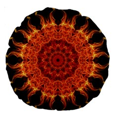 Flaming Sun 18  Premium Round Cushion  by Zandiepants