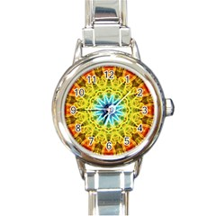 Flower Bouquet Round Italian Charm Watch by Zandiepants