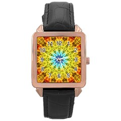 Flower Bouquet Rose Gold Leather Watch  by Zandiepants