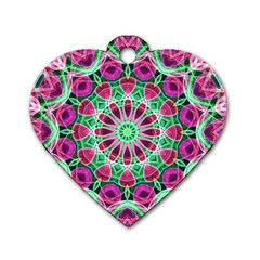 Flower Garden Dog Tag Heart (one Sided)  by Zandiepants