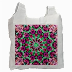 Flower Garden White Reusable Bag (two Sides) by Zandiepants