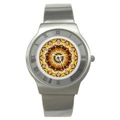 Ochre Burnt Glass Stainless Steel Watch (slim)