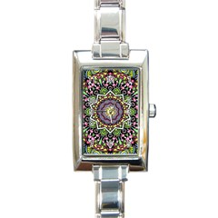 Psychedelic Leaves Mandala Rectangular Italian Charm Watch by Zandiepants