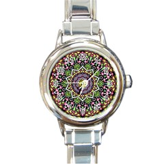 Psychedelic Leaves Mandala Round Italian Charm Watch by Zandiepants