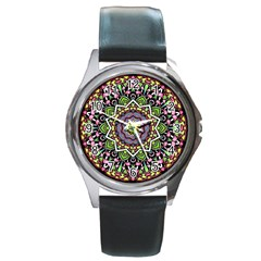 Psychedelic Leaves Mandala Round Leather Watch (silver Rim) by Zandiepants