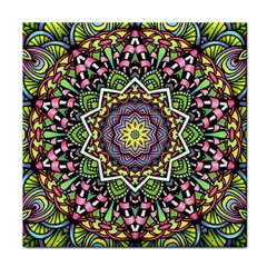 Psychedelic Leaves Mandala Ceramic Tile by Zandiepants