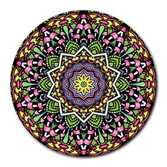 Psychedelic Leaves Mandala 8  Mouse Pad (round) by Zandiepants