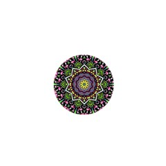 Psychedelic Leaves Mandala 1  Mini Button Magnet by Zandiepants