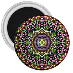 Psychedelic Leaves Mandala 3  Button Magnet by Zandiepants