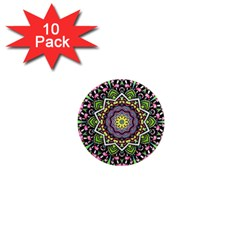 Psychedelic Leaves Mandala 1  Mini Button Magnet (10 Pack) by Zandiepants