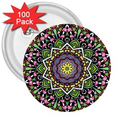 Psychedelic Leaves Mandala 3  Button (100 Pack) by Zandiepants