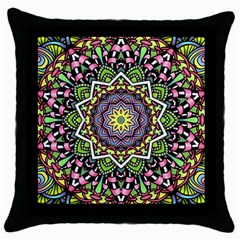 Psychedelic Leaves Mandala Black Throw Pillow Case by Zandiepants