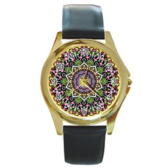 Psychedelic Leaves Mandala Round Leather Watch (gold Rim)  by Zandiepants