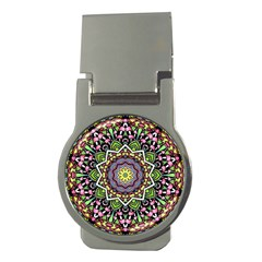 Psychedelic Leaves Mandala Money Clip (round) by Zandiepants