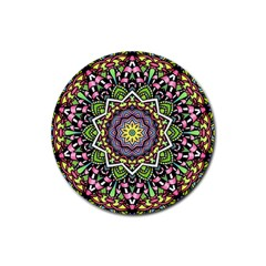 Psychedelic Leaves Mandala Drink Coaster (round) by Zandiepants