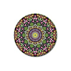 Psychedelic Leaves Mandala Magnet 3  (round) by Zandiepants