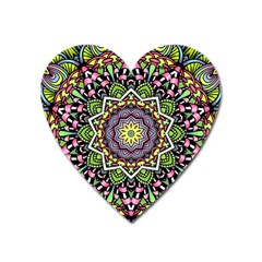 Psychedelic Leaves Mandala Magnet (heart) by Zandiepants