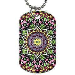 Psychedelic Leaves Mandala Dog Tag (two Sided)  by Zandiepants