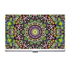 Psychedelic Leaves Mandala Business Card Holder by Zandiepants