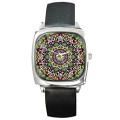 Psychedelic Leaves Mandala Square Leather Watch by Zandiepants