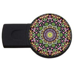 Psychedelic Leaves Mandala 4gb Usb Flash Drive (round) by Zandiepants