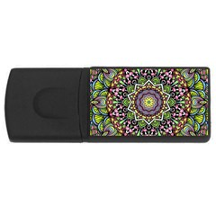 Psychedelic Leaves Mandala 4gb Usb Flash Drive (rectangle) by Zandiepants
