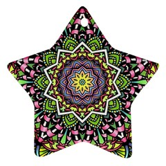 Psychedelic Leaves Mandala Star Ornament (two Sides) by Zandiepants