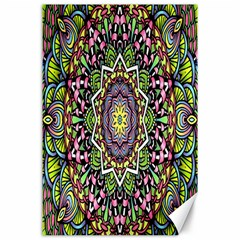 Psychedelic Leaves Mandala Canvas 24  X 36  (unframed) by Zandiepants