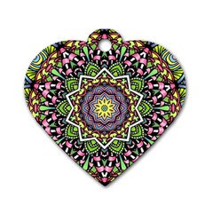 Psychedelic Leaves Mandala Dog Tag Heart (two Sided) by Zandiepants