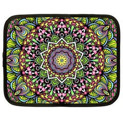 Psychedelic Leaves Mandala Netbook Sleeve (xxl) by Zandiepants