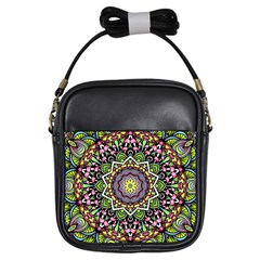 Psychedelic Leaves Mandala Girl s Sling Bag