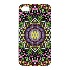 Psychedelic Leaves Mandala Apple Iphone 4/4s Hardshell Case by Zandiepants
