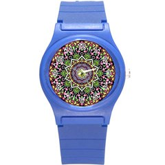 Psychedelic Leaves Mandala Plastic Sport Watch (small) by Zandiepants