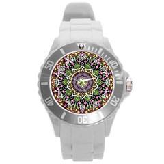 Psychedelic Leaves Mandala Plastic Sport Watch (large) by Zandiepants