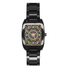 Psychedelic Leaves Mandala Stainless Steel Barrel Watch by Zandiepants