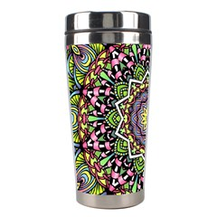 Psychedelic Leaves Mandala Stainless Steel Travel Tumbler by Zandiepants