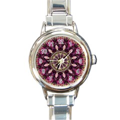 Purple Flower Round Italian Charm Watch by Zandiepants