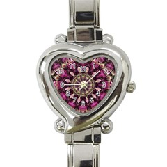 Purple Flower Heart Italian Charm Watch  by Zandiepants