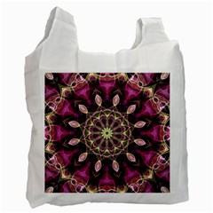 Purple Flower White Reusable Bag (two Sides) by Zandiepants