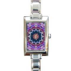 Purple Lotus Rectangular Italian Charm Watch by Zandiepants