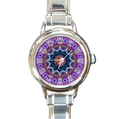 Purple Lotus Round Italian Charm Watch by Zandiepants