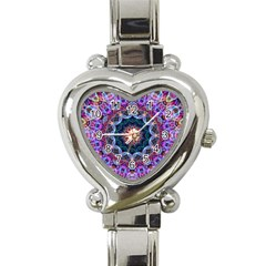 Purple Lotus Heart Italian Charm Watch  by Zandiepants