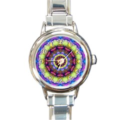 Rainbow Glass Round Italian Charm Watch by Zandiepants